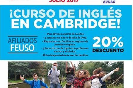 Curso de Inglés en Cambridge en julio con descuento a FEUSO