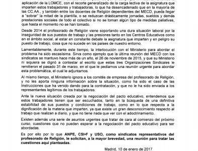 USO, de forma conjunta, solicita reunión con el Ministerio para abordar la situación laboral del Profesorado de Religión