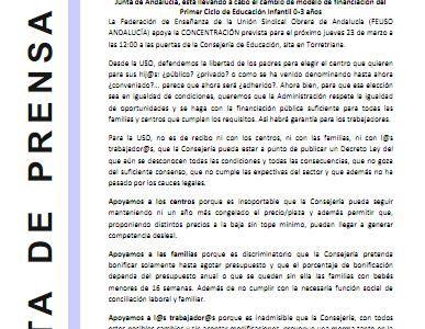 USO apoya a los Centros Infantiles y acudirá a la concentración del próximo 23 a las 12:00 en Torretriana