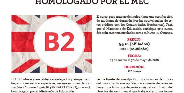 Curso online Inglés B2 (Preparatorio). Homologado por el MEC. Descuentos a los afiliados a FEUSO