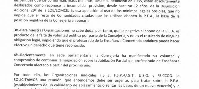 Petición conjunta USO; FSIE; UGT y CCOO. Solución para la Paga Extra de 25 años (PEA) y Jubilación Parcial en 2019 para Andalucía