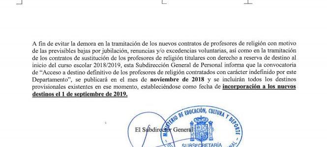 El MECyD pospone el concurso de vacantes del Profesorado de Religión a noviembre