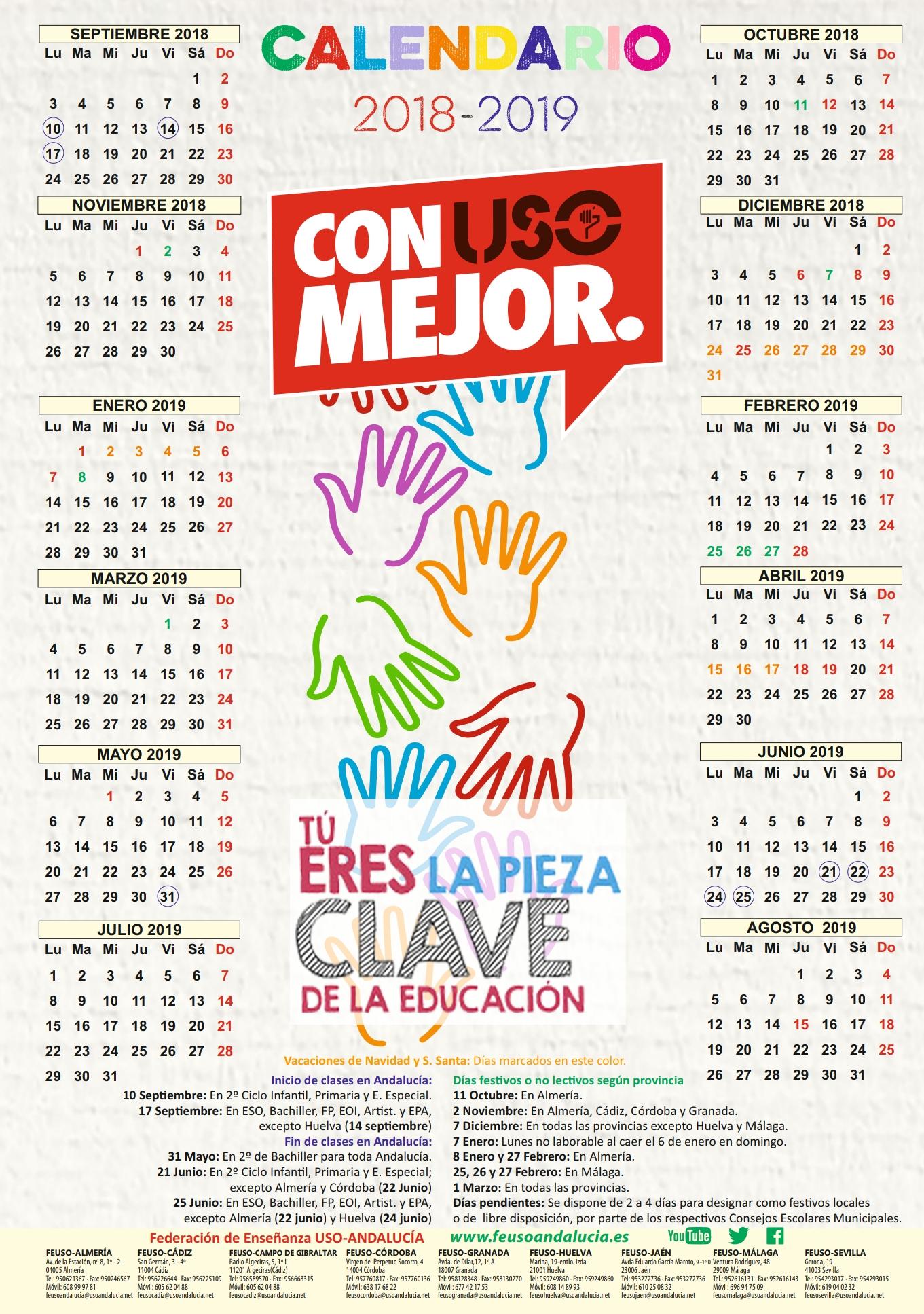 Calendario Escolar Huelva.Calendario Escolar 2018 2019 Para Las Provincias De Andalucia