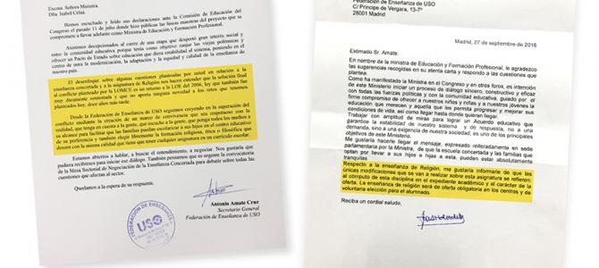 FEUSO defiende la asignatura de Religión ante el Ministerio de Educación