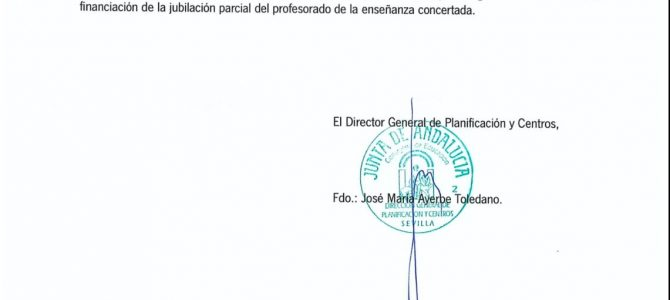 Próxima Convocatoria Comisión Técnica E. Concertada para la negociación de Jubilación Parcial en Andalucía