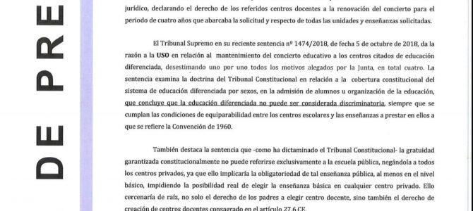 USO satisfecha por el nueva sentencia del TS que ratifica el concierto a nueve centros de enseñanza diferenciada