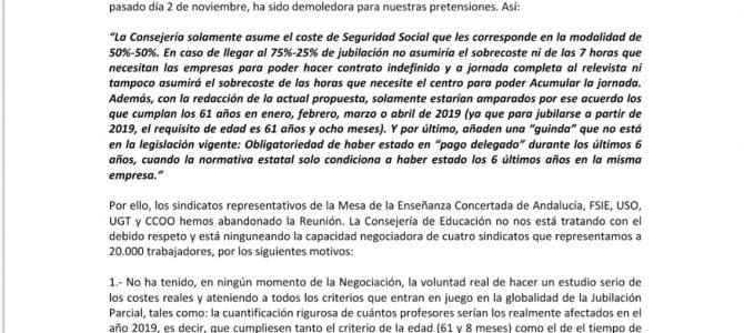 USO se levanta de la reunión sobre Jubilación Parcial para la E. Concertada