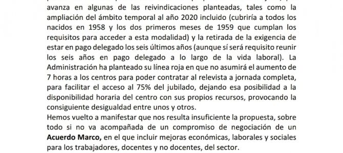 Novedades sobre la negociación de la Jubilación Parcial a partir de 2019 en la E. Concertada de Andalucía