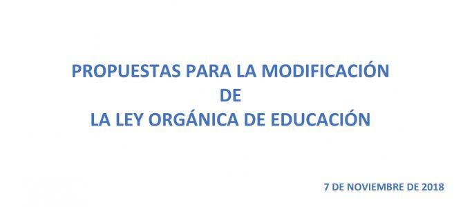 Propuestas para la modificación de Ley Orgánica de Educación