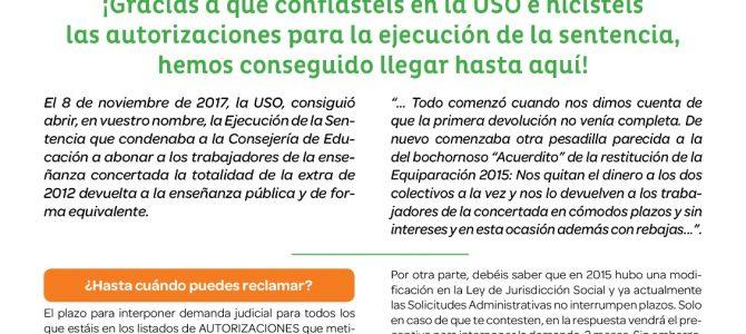 Novedades sobre la reclamación de la deuda pendiente de Extra 2012