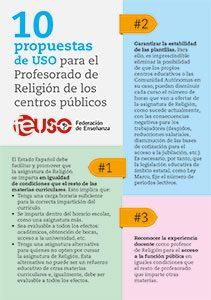 Diez propuestas de USO para el Profesorado de Religión de los centros públicos