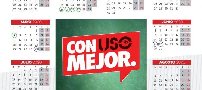 Calendario Escolar de  FEUSO Andalucía para el Curso 19/20