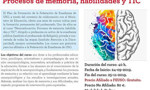 """""""Neuroeducación. Procesos de memoria, habilidades y TIC"""", curso gratuito para los afiliados a FEUSO y homologado por el MEC"""